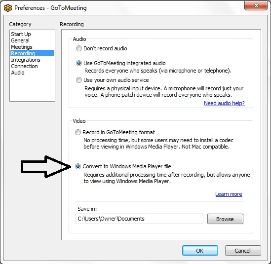 GoToMeeting Recording Setting